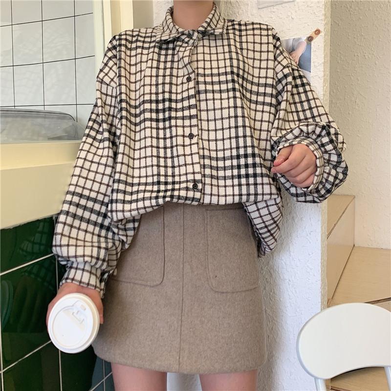 [GF1909] 캐주얼 심플 체크 박시한 알투 블라우스 셔츠
